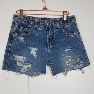 LEI | Distressed Jean Shorts Med Wash Size 28